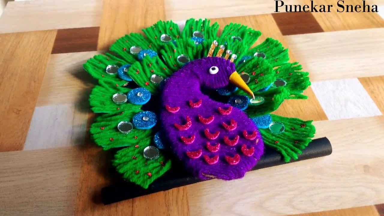 DIY-How to make woolen peacock for home decor   Easy craft   By Punekar Sneha.