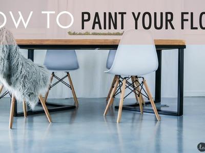 DIY Painted Floor | IDEA | Laminate Floor Painted to LOOK like Polished CONCRETE | Industrial decor