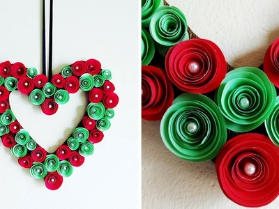 DIY : Paper Flower Wreath   Valentine Heart Wreath   Rolled Paper Rose Wall Hanging Decoration