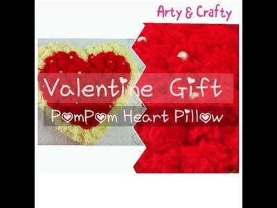 DIY#Pompom  - Valentine Gift#Unique#Craft Idea#How to make Heart Pillow#Handmade#Soft#Heart Shape