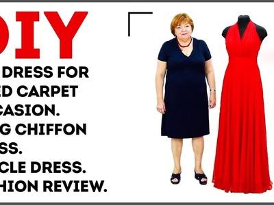 DIY: Red dress for a red carpet occasion. Long chiffon dress. Circle dress. Fashion review.
