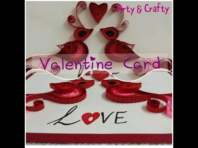 DIY#Valentine Card#Quilling Bird & Heart#Craft Idea#How to make Valentine Greeting Card#Handmade