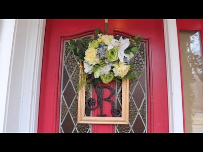 DOLLAR TREE DIY. Monogrammed Spring Wreath. Picture Frame Ideas.LOW BUDGET WREATH