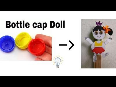 Easy bottle cap dolls.easy craft idea for kids