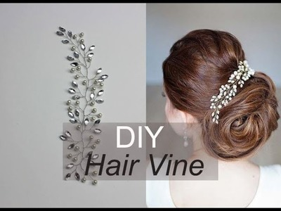 Easy DIY Hair Vine with Rhinestones and Pearsl - Hair Accessory How to Tiara, Hair Comb