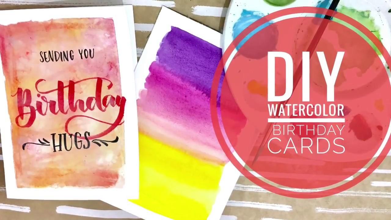 Easy DIY watercolor Card Tutorial- Step By Step Handmade Valentines. Birthday Card Tutorial
