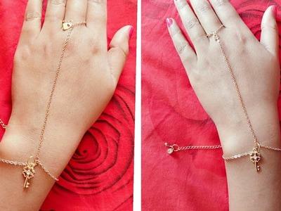 Hand and ring chain.bracelet DIY.simple haathphool jewellery DIY.jewellery making
