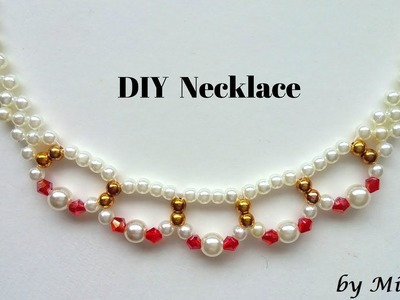 How to make a necklace.  Beaded necklace tutorial.  jewelry making idea