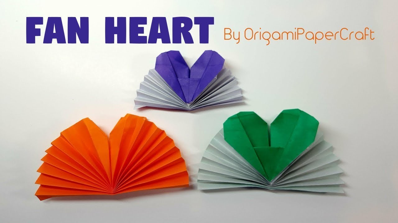 How to make an Origami FAN HEART ❤️ Tutorial By OrigamiPaperCraft