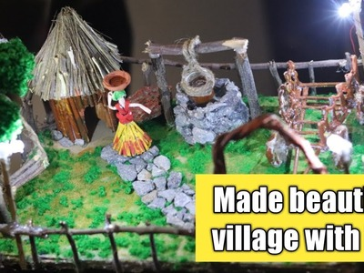 How to make beautiful village by craft, Diy Beautiful village with light made in home by old stuff?