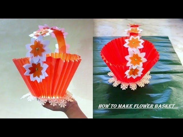 HOW TO MAKE FLOWER BASKETsimple And Easy Craftbeautiful Flower PotDIYpaper Workcraft Work