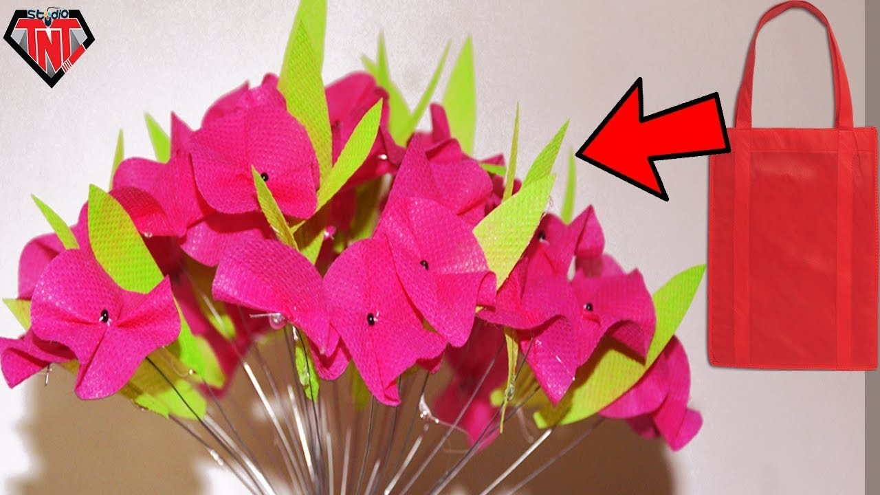 How To Make Flowers Tree || DIY Shopping Bags Flowers || Waste Recycle Idea