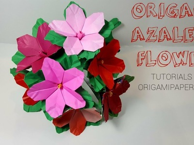 How To Make Origami  AZALEA FLOWER and DIY STEM ????Tutorial By OrigamiPaperCraft