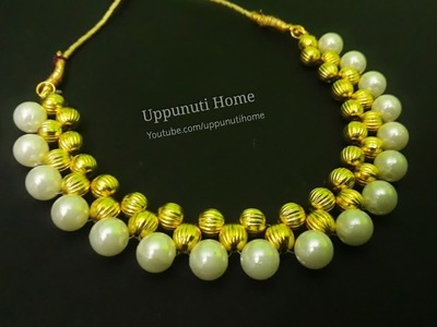 How To Make Pearl Necklace | DIY | designer pearl chokar necklace |Jewelry Making | Uppunuti Home
