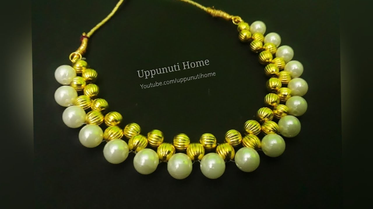 How To Make Pearl Necklace | DIY | designer pearl chokar necklace |Jewelry Making | Uppunuti Home