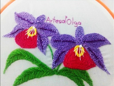 How to Stitch Orchids with Chain Stitch|DIY Hand Embroidery Tutorial |Orquídeas en Punto Cadeneta