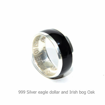 Irish bog Oak ring. Mens coin rings American silver dollar coin ring,wood inlay rings for men. Silver and wood wedding rings