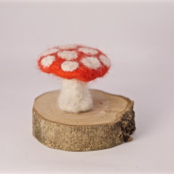 Mushroom Toad Stall Needle Felted Red White Ornament Felt Home Decor Handmade