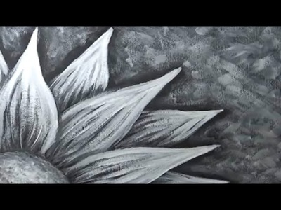 Painting a Flower with Black and White Gesso or Acrylic Paint