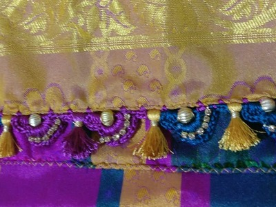 Saree khuchu New idea of joining Double color in slant design with bead-14 (kannada version)