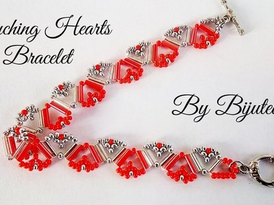 Touching Hearts Bracelet  - Tutorial (with bugles) ❤️