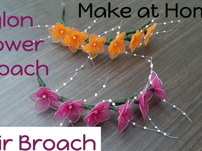 Tutorial #22 Easy Nylon Flowers Hair Broach | Make at Home | creative craft art