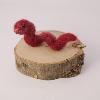 Worm Needle Felted Ornament Cute Dark Red Small Animals Felt Home Decor Handmade