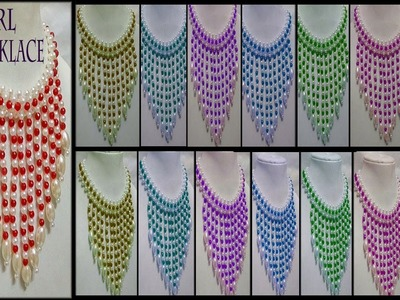 #113 How To Make Pearl  Beaded Necklace (Unique) || Diy || Jewellery Making