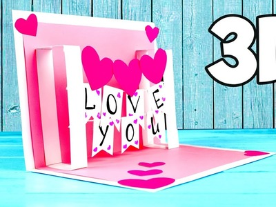 3D Postcard from paper | St. Valentine's Day
