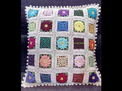 Crochet Cushion Cover with Floral & Lacy Granny Squares #1