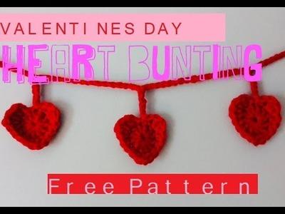 Crochet Valentines Heart Bunting! {FREE PATTERN}