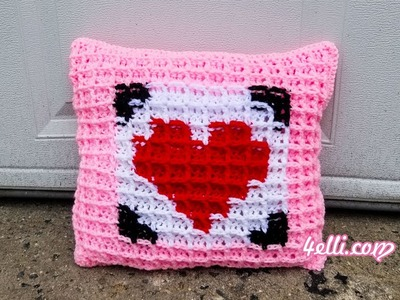 Crochet Waffle Stitch Graphing: Pillow for Valentine's Day Tutorial (EN)