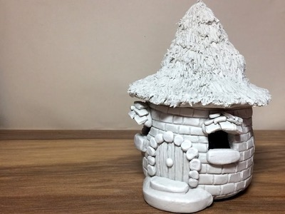 DIY DAS Paper Clay Brick Fairy House.Hut Lantern  Night Light House Craft Idea