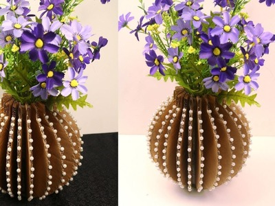 DIY - How to make flower vase with cardboard  - Home decorative vase using recycled cardboard