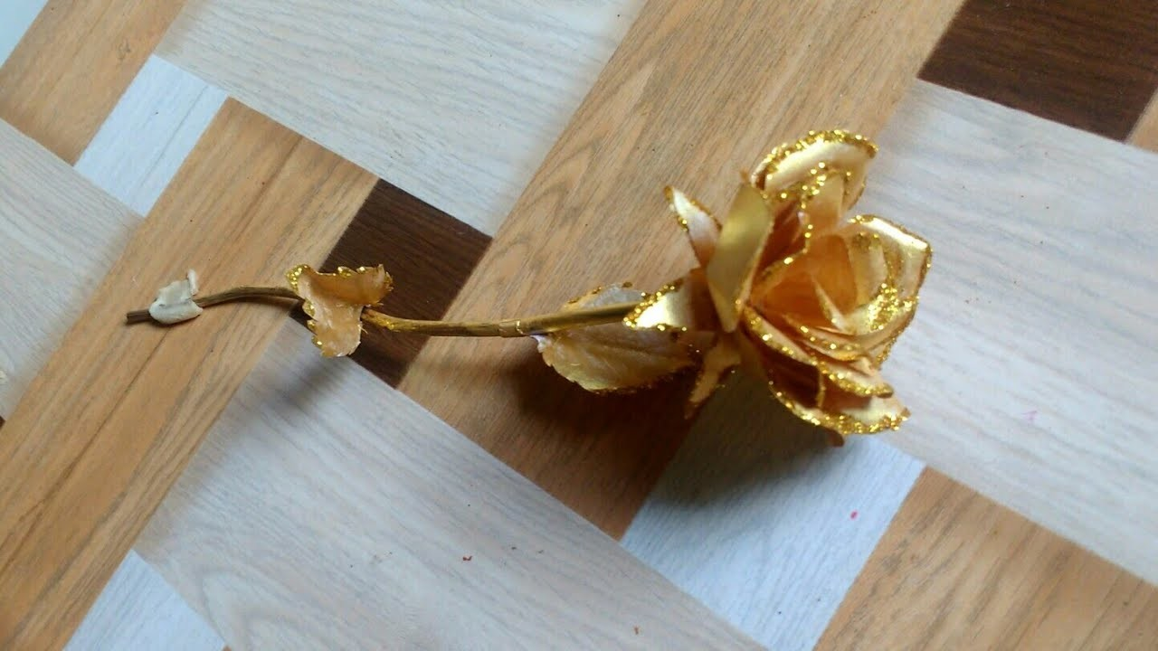 DIY - How To Make Golden Rose From Paper | Valentine's Gift Idea | Paper Craft By Punekar Sneha.