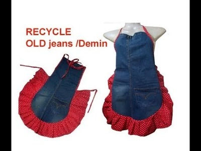 DIY How to Recycle Jeans demin into a Kitchen Apron  garden apron jeans craft ideas