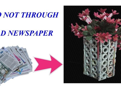 DIY | Multipurpose organizer | How To Make A Newspaper Flower Vase |  Art With Neha 116