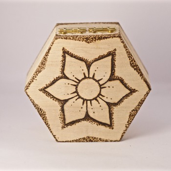 Flower Trinket Box Wood Burnt Boxes Dotted Pyrography Storage Container Handmade (Medium Item)