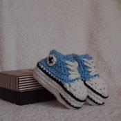 Handmade Crochet Converse Booties - Size 0-3 Months