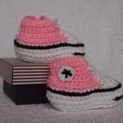 Handmade Crochet Pink Converse Booties - Size 0-3 Months
