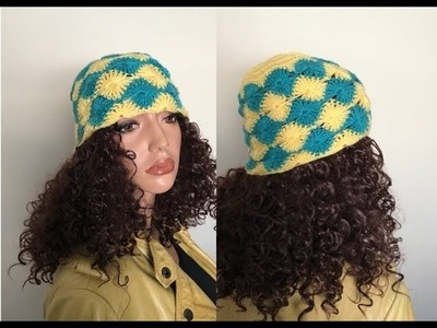 How to Crochet a Quilt Stitch Beanie Hat Pattern #644│by ThePatternFamily