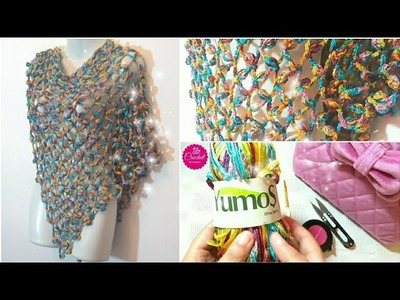 How to Crochet a Shawl #1 Scarf Fast New Rose Stitch 4 all Seasons l☕ The Crochet Shop