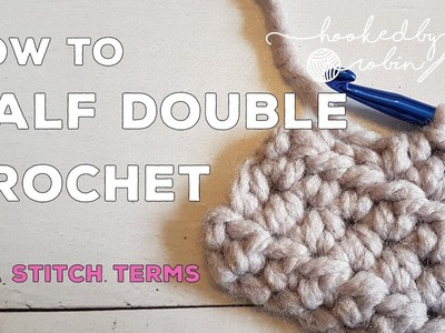 How to crochet the HDC Half Double Crochet stitch in rows - beginners tutorial