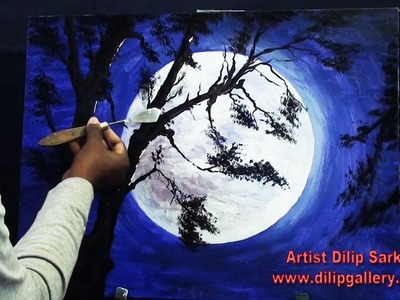 How to Draw scenery of moonlight with acrylic paint step by step
