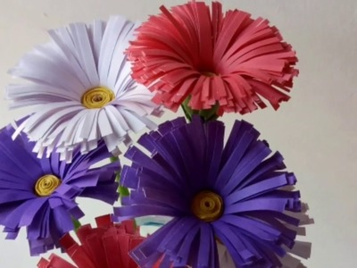 How to Make Chrysanthemum flower with Paper.Making Paper Flowers Step by Step.