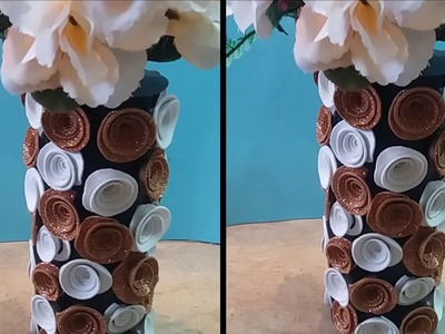 HOW TO MAKE PAPER FOAM SHEET FLOWER VASE AT HOME IN LOW COST 2018 EASY STYLISH VASE(EASY STYLE)