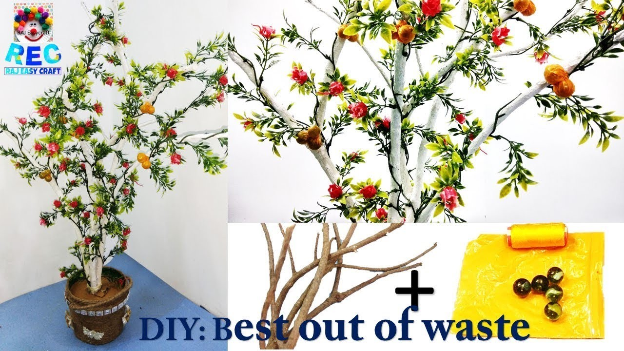 How to make showpiece tree | waste and best | home decor ideas