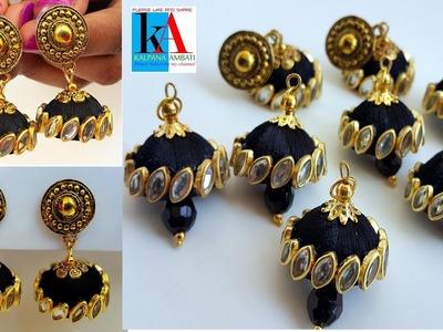 How to make silk thread jhumkas. silk thread earrings new designs making
