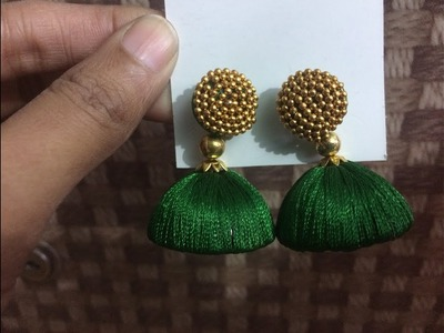 How to make silk thread jumka.silk thread earrings.silk thread jewellery.