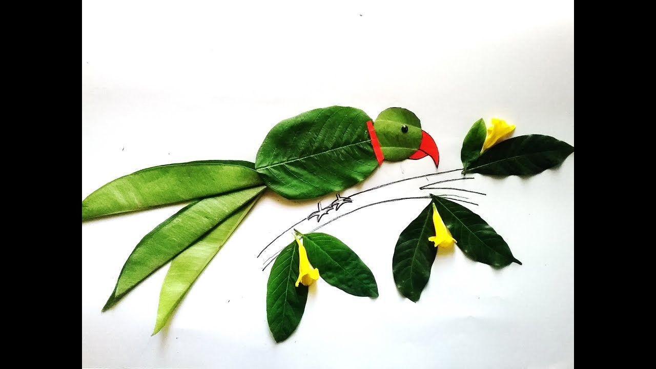 How to make simple Parrot using leaves. DIY Easy Leaf craft. Easy and Simple leaf art for kids